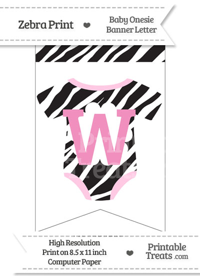 Zebra Print Baby Onesie Bunting Banner Letter W from PrintableTreats.com