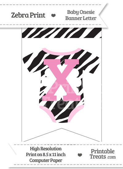Zebra Print Baby Onesie Bunting Banner Letter X from PrintableTreats.com
