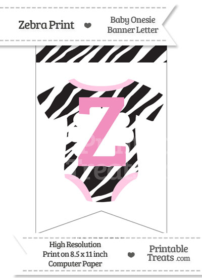 Zebra Print Baby Onesie Bunting Banner Letter Z from PrintableTreats.com