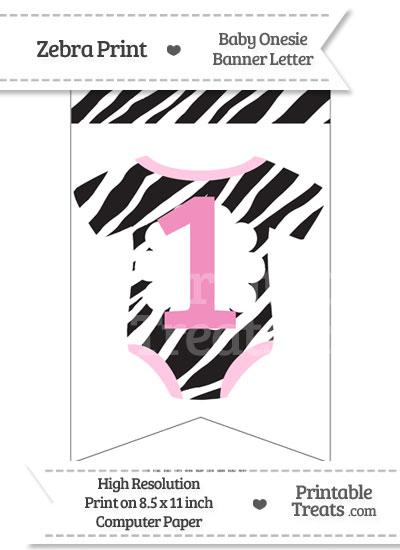 Zebra Print Baby Onesie Bunting Banner Number 1 from PrintableTreats.com
