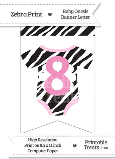 Zebra Print Baby Onesie Bunting Banner Number 8 from PrintableTreats.com