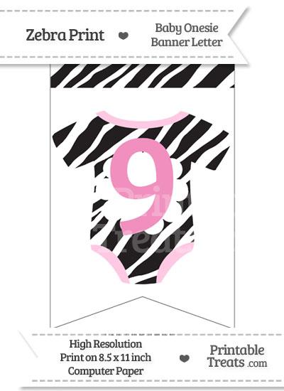 Zebra Print Baby Onesie Bunting Banner Number 9 from PrintableTreats.com