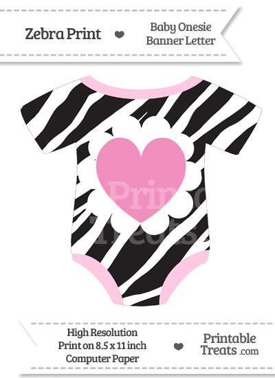 Zebra Print Baby Onesie Shaped Banner Heart End Flag from PrintableTreats.com