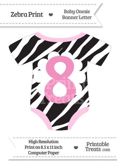 Zebra Print Baby Onesie Shaped Banner Number 8 from PrintableTreats.com
