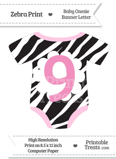 Zebra Print Baby Onesie Shaped Banner Number 9 from PrintableTreats.com