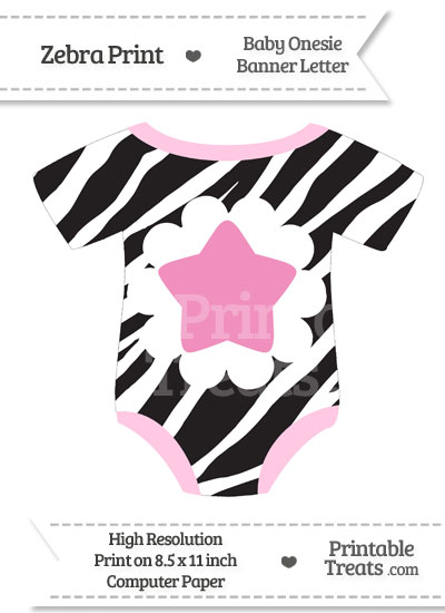 Zebra Print Baby Onesie Shaped Banner Star End Flag from PrintableTreats.com