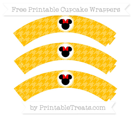 Free Amber Houndstooth Pattern Minnie Mouse Cupcake Wrappers