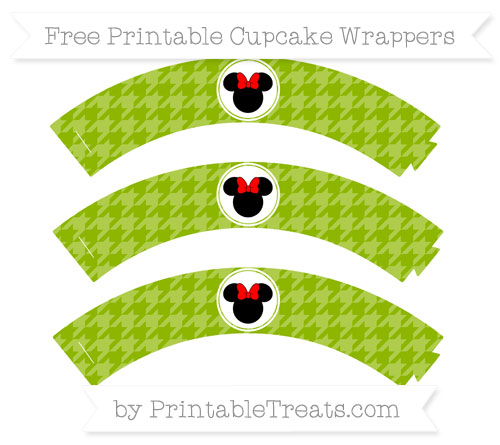 Free Apple Green Houndstooth Pattern Minnie Mouse Cupcake Wrappers