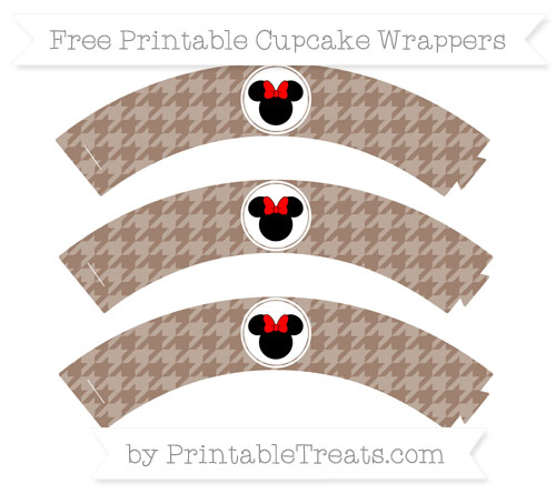 Free Beaver Brown Houndstooth Pattern Minnie Mouse Cupcake Wrappers