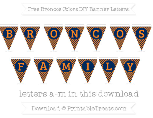 Free Broncos Colors DIY Banner Letters
