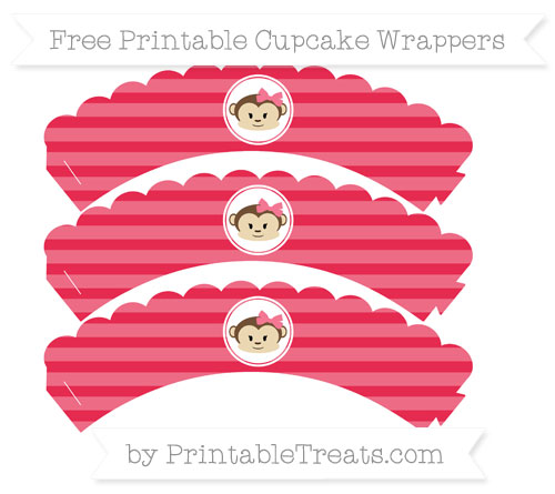 Free Amaranth Pink Horizontal Striped Girl Monkey Scalloped Cupcake Wrappers