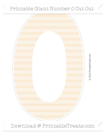 Free Antique White Horizontal Striped Giant Number 0 Cut Out