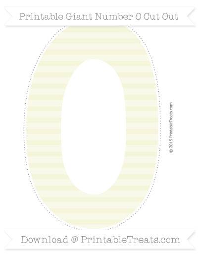Free Beige Horizontal Striped Giant Number 0 Cut Out