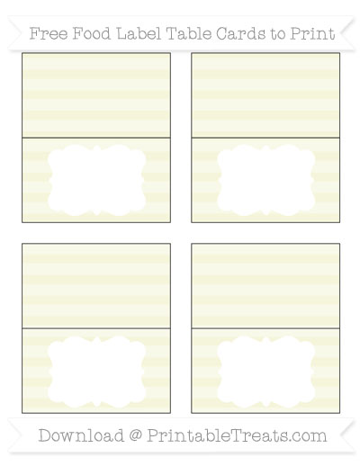 Free Beige Horizontal Striped Simple Food Labels