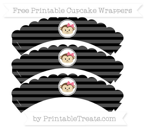 Free Black Horizontal Striped Girl Monkey Scalloped Cupcake Wrappers