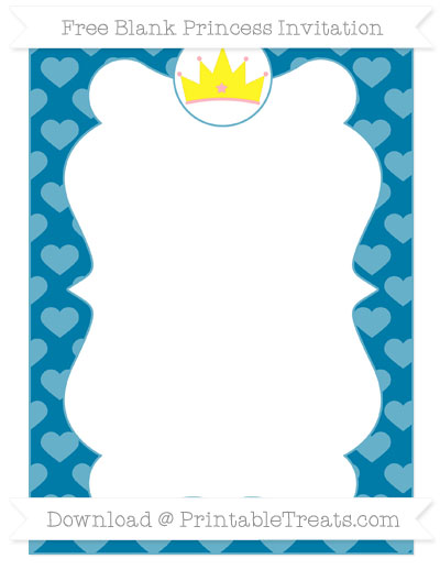 Free Cerulean Blue Heart Pattern Blank Princess Invitation