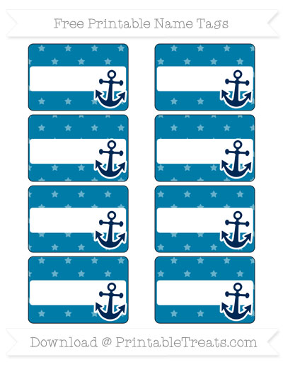 Free Cerulean Blue Star Pattern Nautical Name Tags Printable