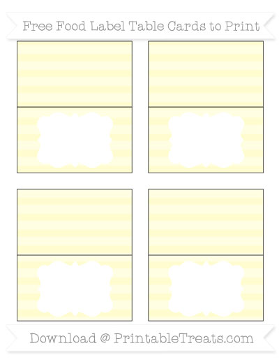 Free Cream Horizontal Striped Simple Food Labels