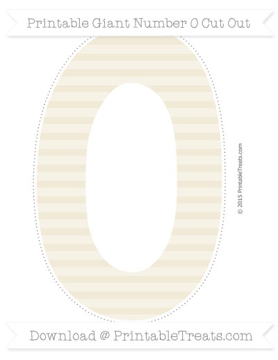 Free Eggshell Horizontal Striped Giant Number 0 Cut Out