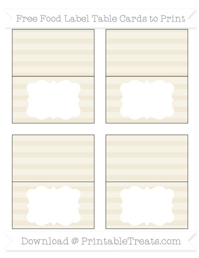 Free Eggshell Horizontal Striped Simple Food Labels