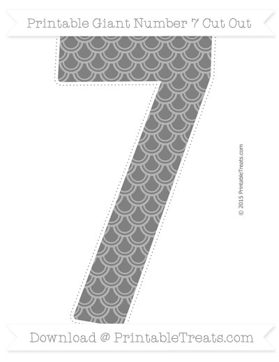 Grey fish scale pattern giant number 7 cut out printable for Fish scale coke cut