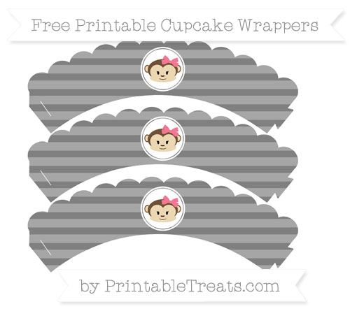 Free Grey Horizontal Striped Girl Monkey Scalloped Cupcake Wrappers