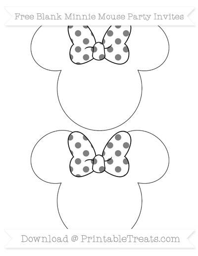 Free Grey Polka Dot Blank Minnie Mouse Party Invites