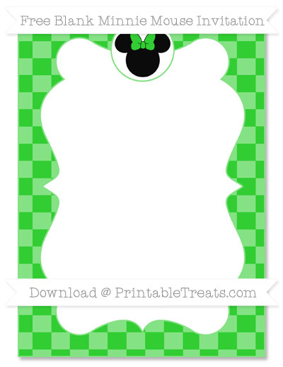 Free Lime Green Checker Pattern Blank Minnie Mouse Invitation