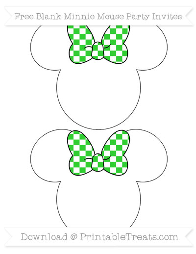 Free Lime Green Checker Pattern Blank Minnie Mouse Party Invites