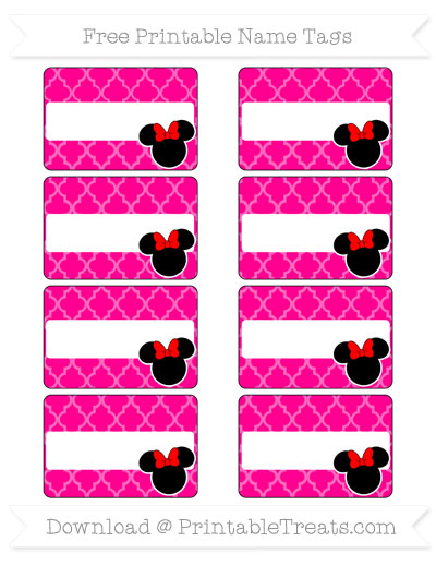 Free Magenta Moroccan Tile Minnie Mouse Name Tags