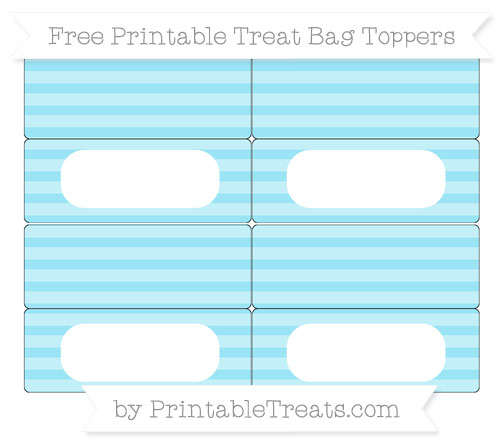 Free Pastel Aqua Blue Horizontal Striped Simple Treat Bag Toppers