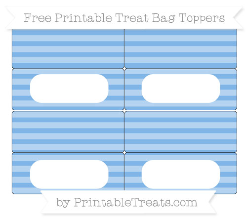 Free Pastel Blue Horizontal Striped Simple Treat Bag Toppers