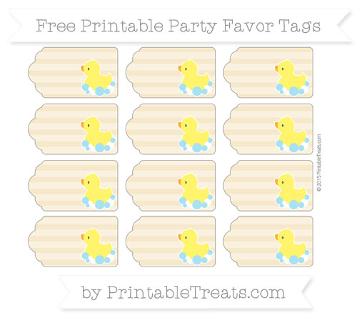 Free Pastel Bright Orange Horizontal Striped Baby Duck Party Favor Tags