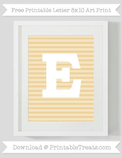 Free Pastel Bright Orange Horizontal Striped Letter E 8x10 Art Print