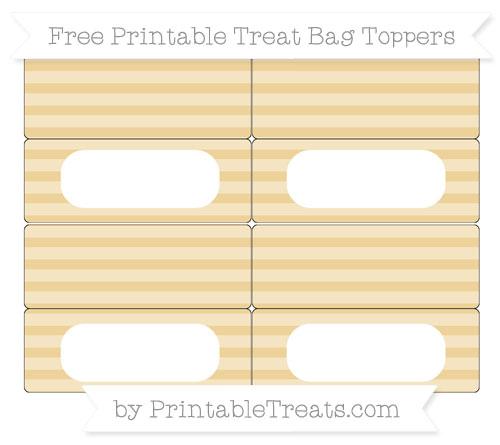 Free Pastel Bright Orange Horizontal Striped Simple Treat Bag Toppers