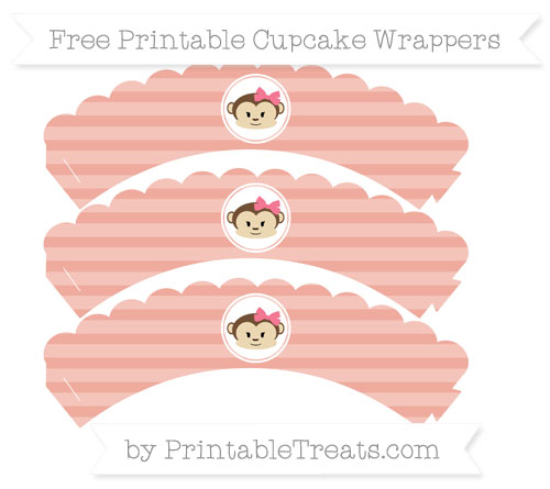 Free Pastel Coral Horizontal Striped Girl Monkey Scalloped Cupcake Wrappers
