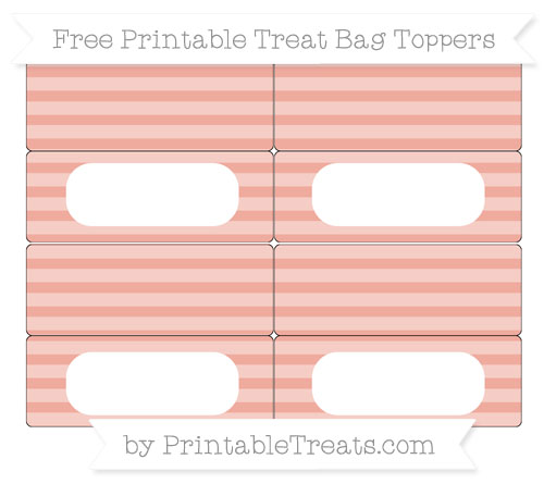 Free Pastel Coral Horizontal Striped Simple Treat Bag Toppers