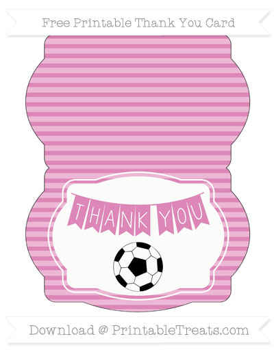 Free Pastel Fuchsia Horizontal Striped Soccer Thank You Card