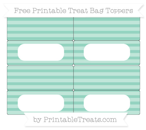 Free Pastel Green Horizontal Striped Simple Treat Bag Toppers