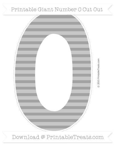 Free Pastel Grey Horizontal Striped Giant Number 0 Cut Out