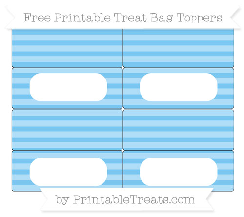 Free Pastel Light Blue Horizontal Striped Simple Treat Bag Toppers