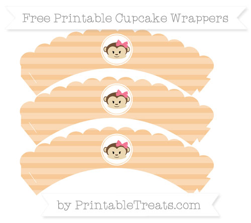 Free Pastel Light Orange Horizontal Striped Girl Monkey Scalloped Cupcake Wrappers