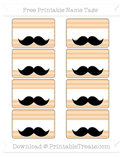 Free Pastel Light Orange Horizontal Striped Mustache Name Tags