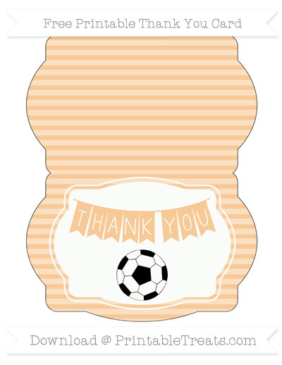 Free Pastel Light Orange Horizontal Striped Soccer Thank You Card