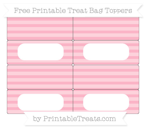 Free Pastel Light Pink Horizontal Striped Simple Treat Bag Toppers