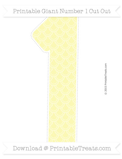 Pastel light yellow fish scale pattern giant number 1 cut for Fish scale coke cut
