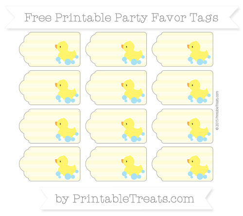 Free Pastel Light Yellow Horizontal Striped Baby Duck Party Favor Tags