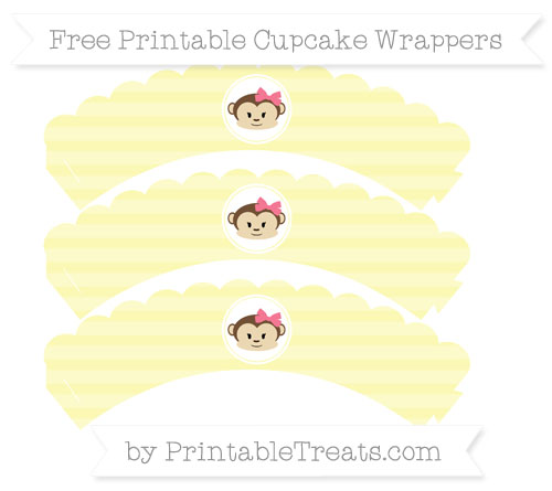 Free Pastel Light Yellow Horizontal Striped Girl Monkey Scalloped Cupcake Wrappers