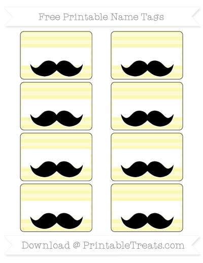Free Pastel Light Yellow Horizontal Striped Mustache Name Tags