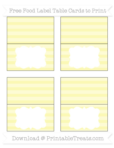 Free Pastel Light Yellow Horizontal Striped Simple Food Labels